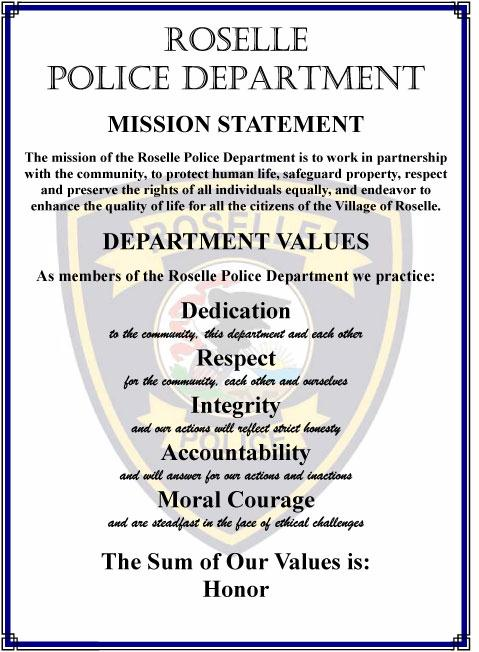 Roselle Police Department Mission Statement