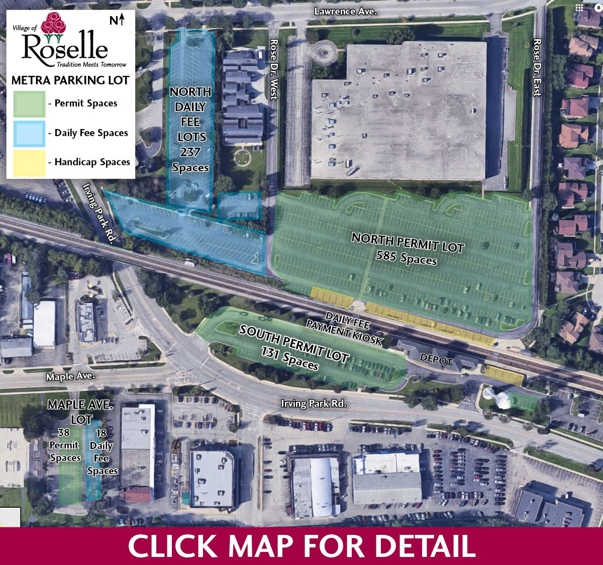 Roselle Metra Parking Map Opens in new window