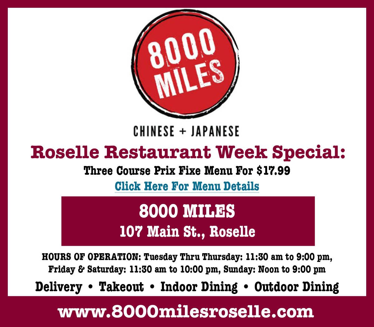Restaurant Week 8000 miles Opens in new window