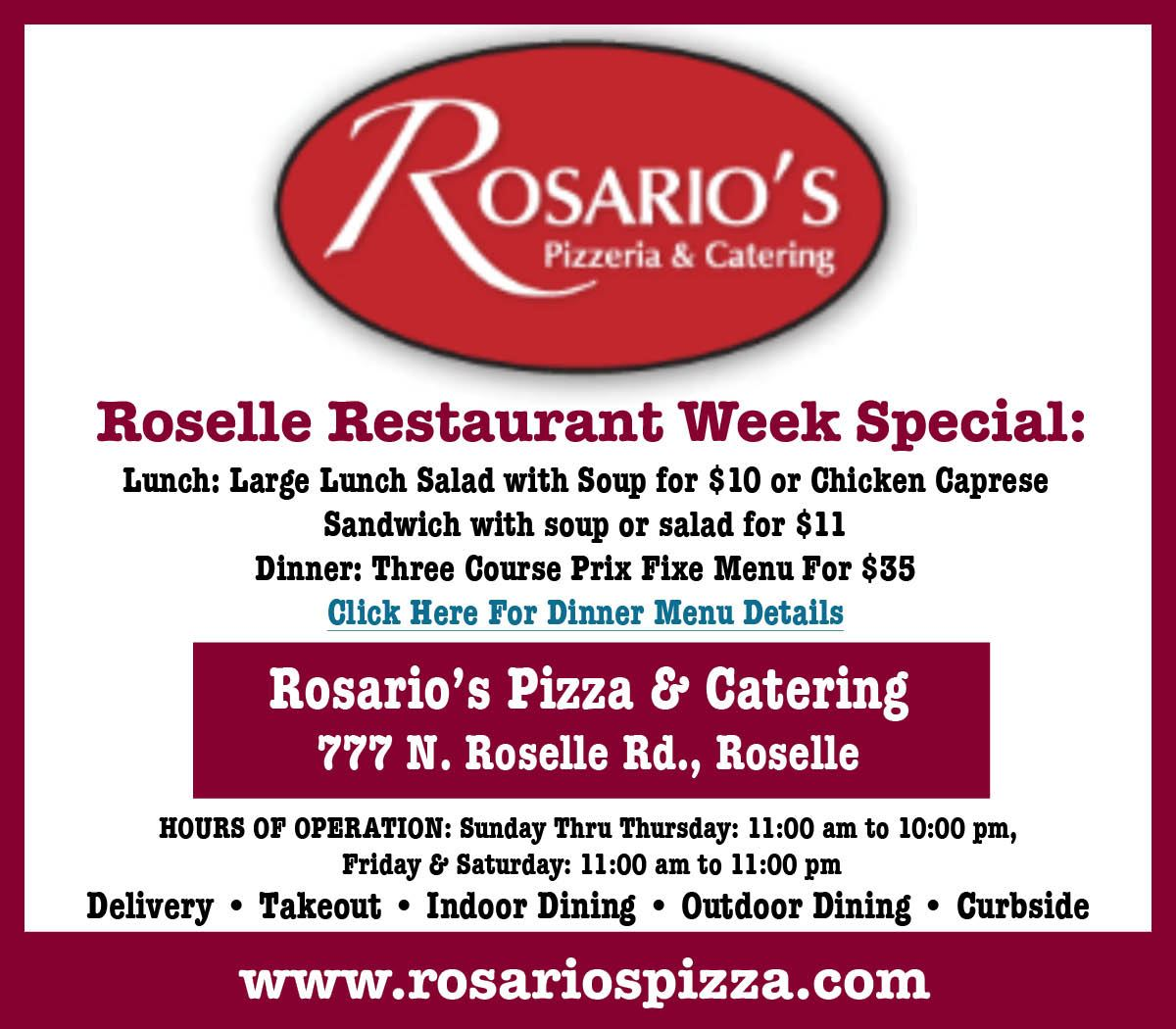 Restaurant Week Rosarios Opens in new window